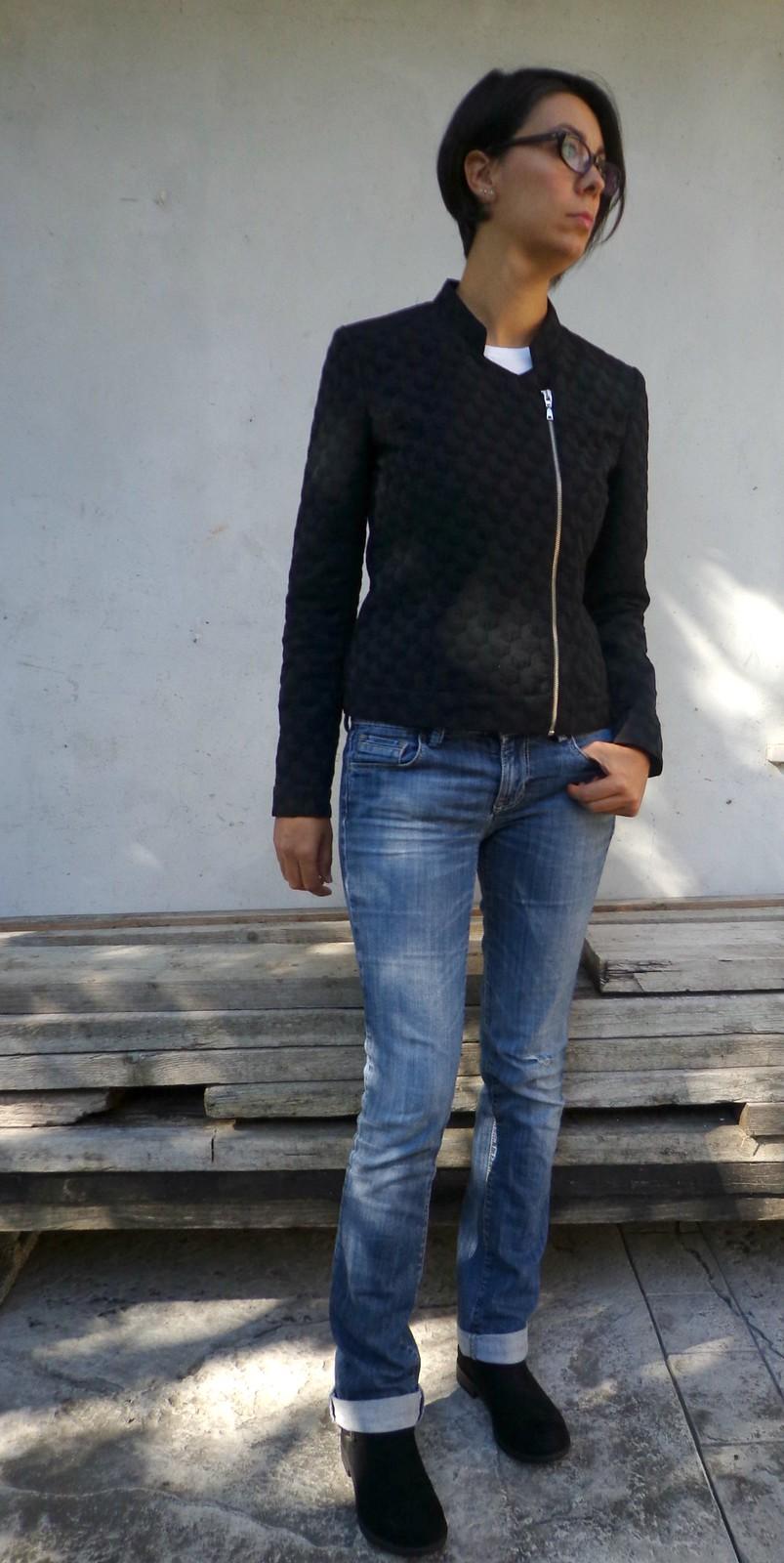 Giacca jaquard asimmetrica