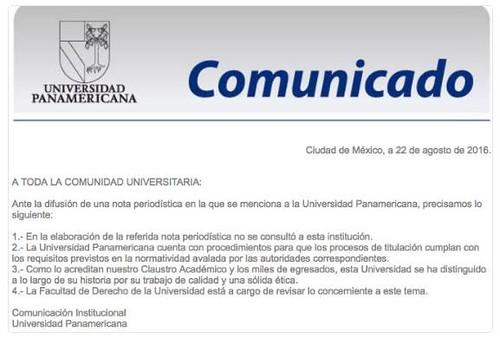 Comunicado de la Universidad Panamericana