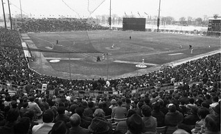 Baseball game and crowd at Jarry Park, April 8, 1970