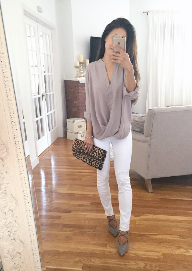 lush crossover drape blouse white jeans outfit
