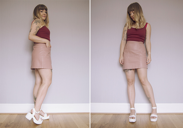 Topshop basics cropped vest, New Look leather skirt & chunky cleated sole sandals