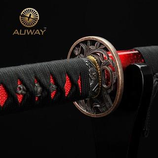 auway-samurai-sword-Orchid-Tsuba-Red-scabbard-5