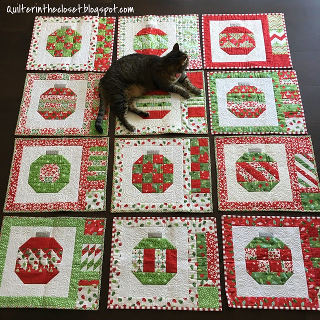 Tookie helping me display my Christmas placemats