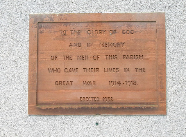 Rosewell, Great War Memorial Plaque