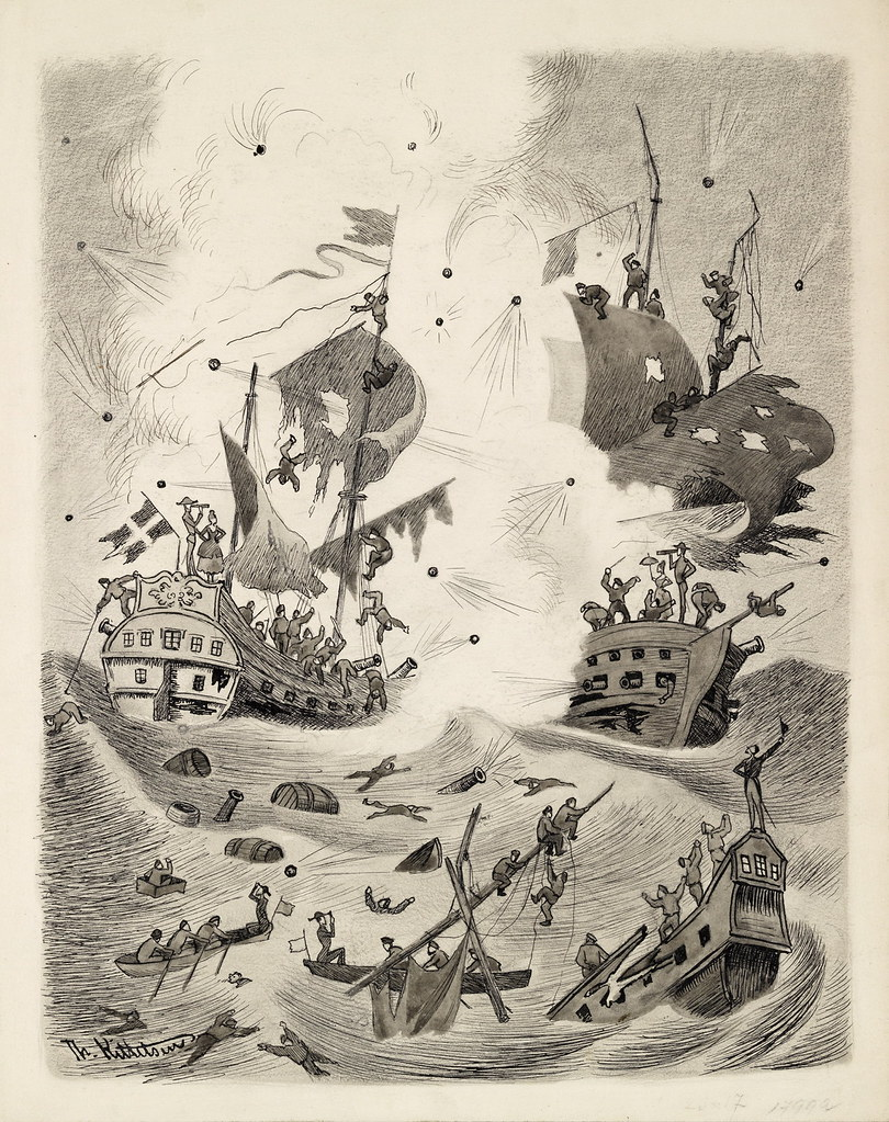 "Theodor Kittelsen - Battle of Kjøbenhavns Red, Illustration to ""Truthful tales and so forth . Told av Mathias Skeibrok"" 1891"