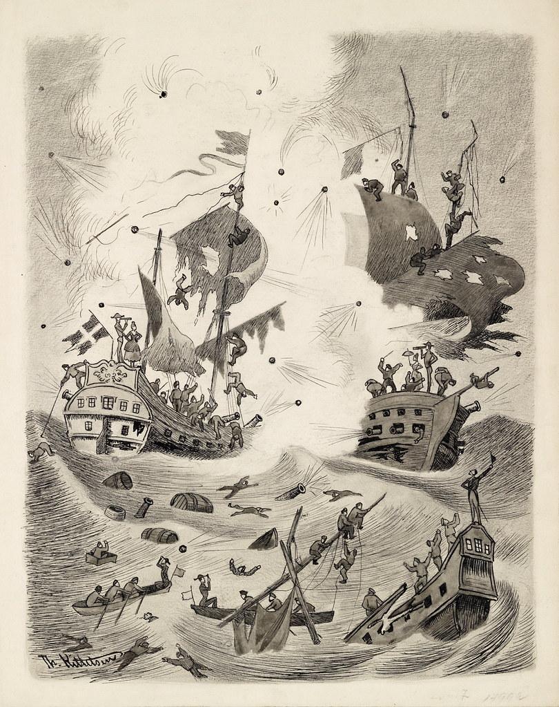 """Theodor Kittelsen - Battle of Kjøbenhavns Red, Illustration to """"Truthful tales and so forth . Told av Mathias Skeibrok"""" 1891"""
