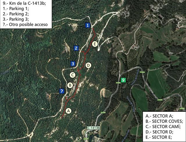 La Cova de l'Ocell -09- Acceso y Sectores