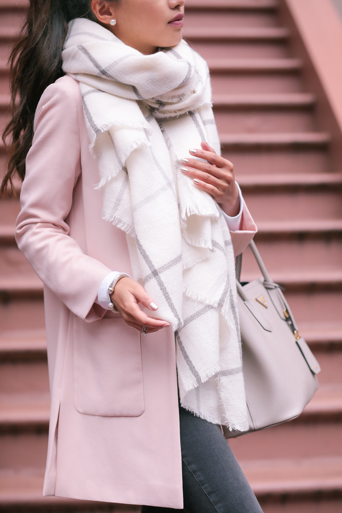 pink jacket how to wear a cream plaid blanket scarf