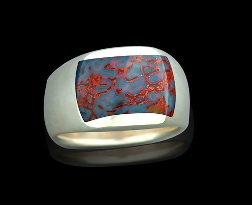Sterling with Blue Gembone Inlay Ring