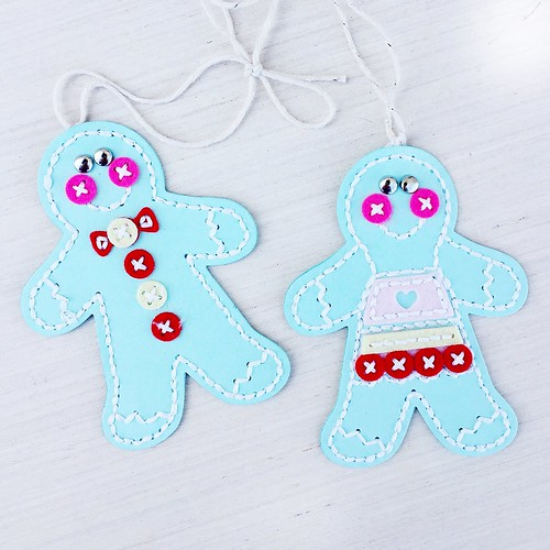 Stitched Gingerbread Mister and Miss out of cardstock, with felt button accents