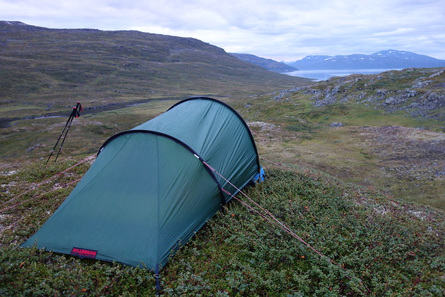 Our third camp spot for the hike, above Hurrejåhkå with a view over Vásstenjávrre.
