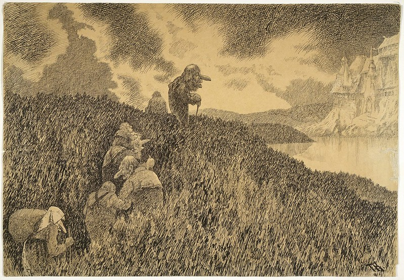 Theodor Kittelsen - On the way to the feast in Troll Castle, 1892