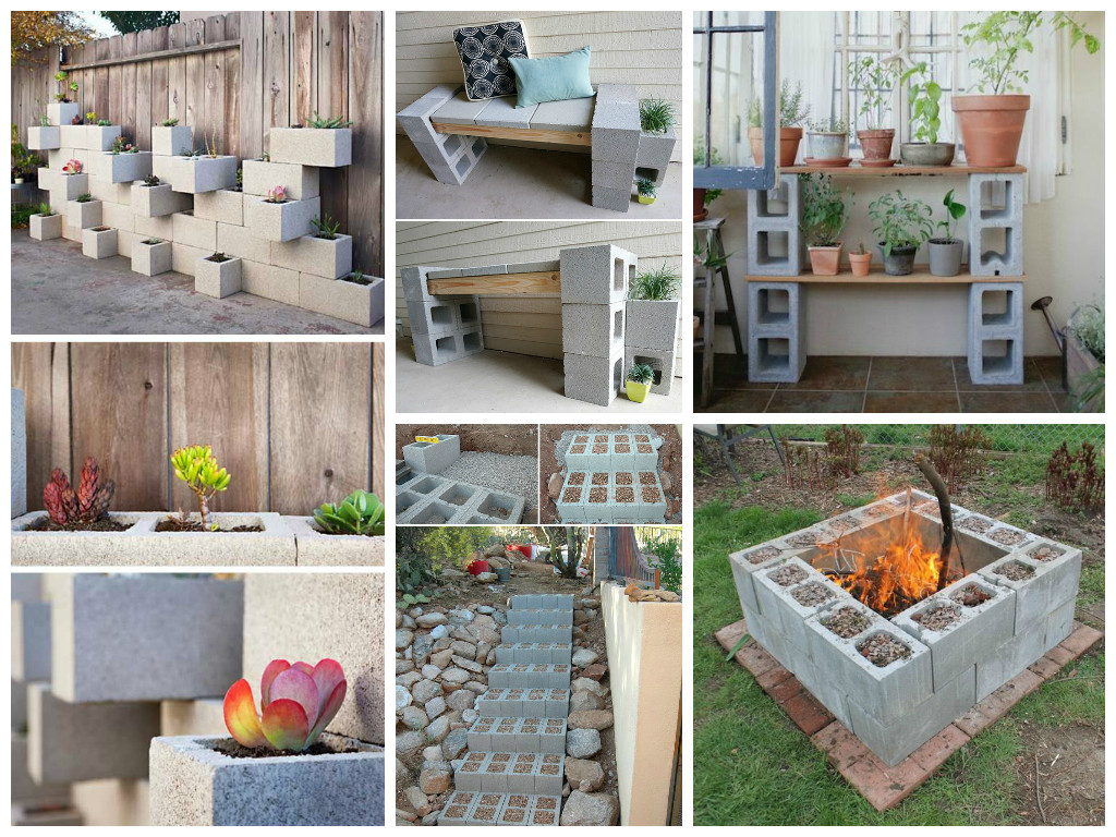 Garden Ideas Using Concrete Blocks - Ideas include seating, planting space and storage. Excellent for small spaces.