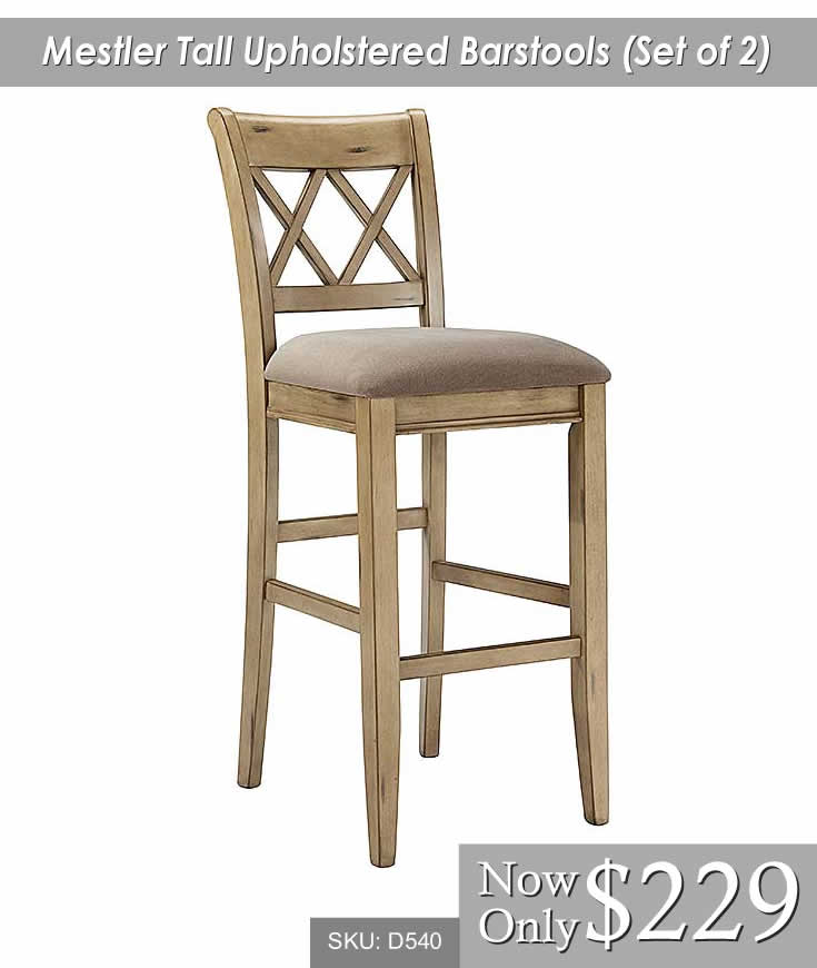Mestler Tall Upholstered Barstool Set of 2