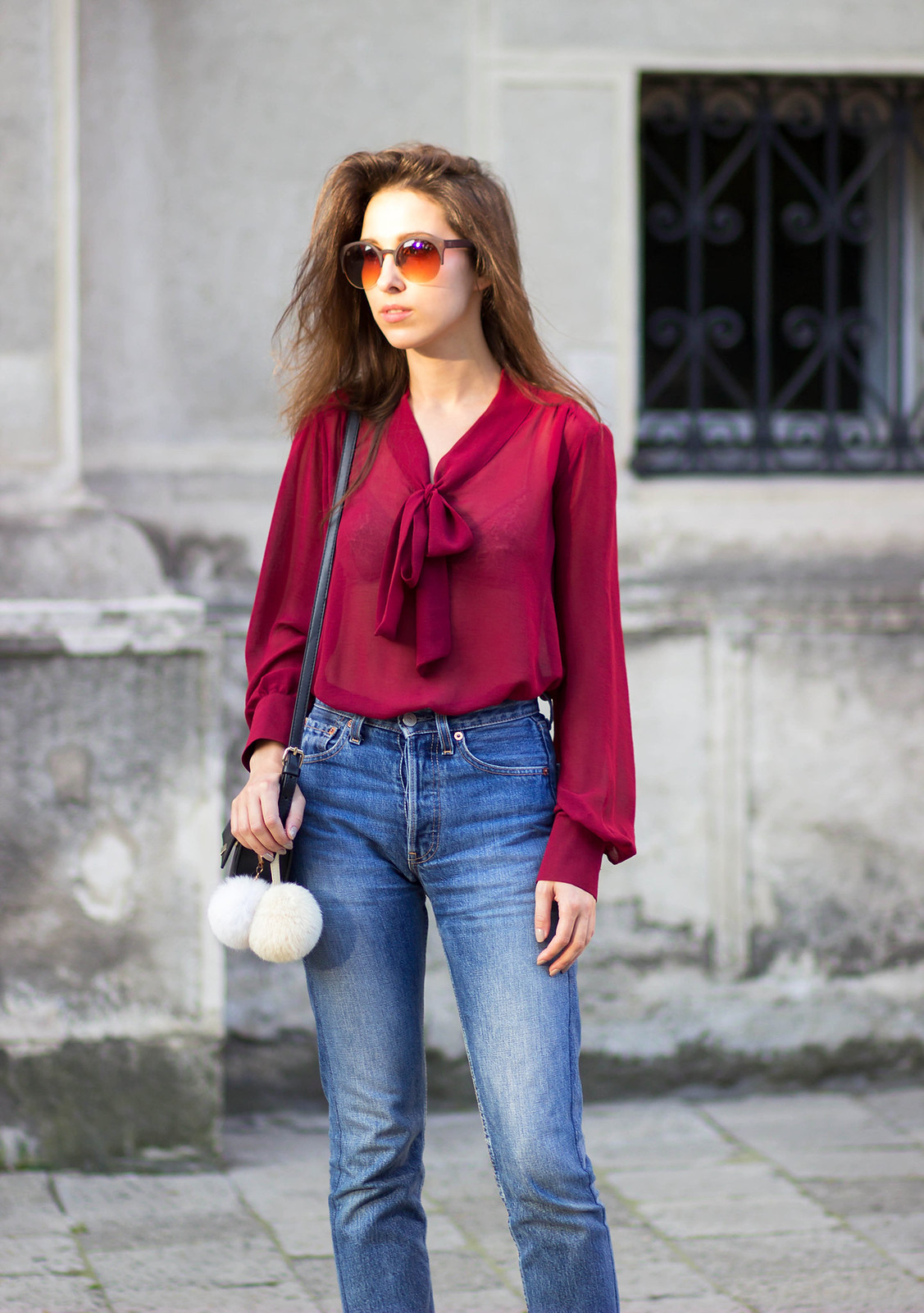 tie-neck blouse & 501