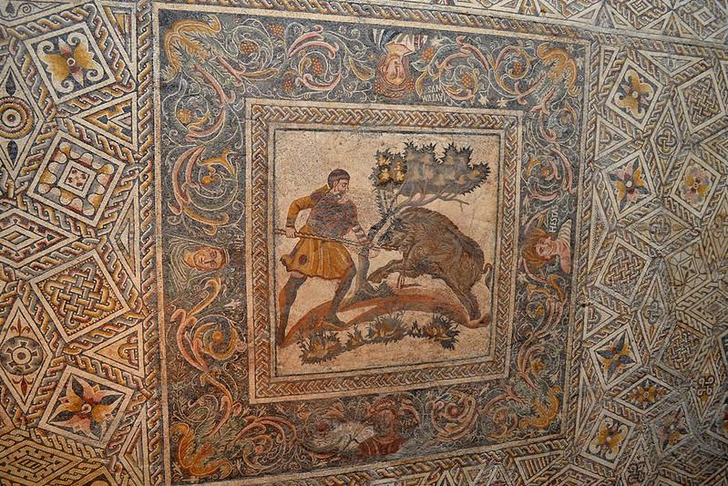 El mosaico del jabalí fue el pavimento de una villa romana.