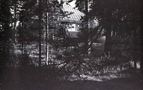 partially under exposed image of an old house