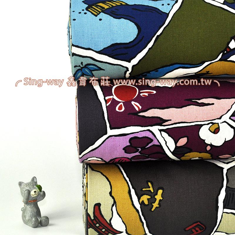畫格風景  繪畫日式風景 手工藝DIy拼布布料 CF550497