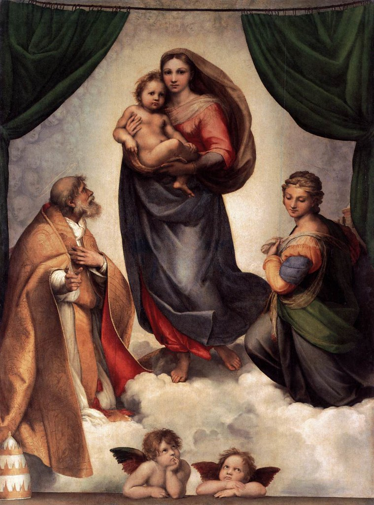 A Madona Sistina e os anjos de Rafael