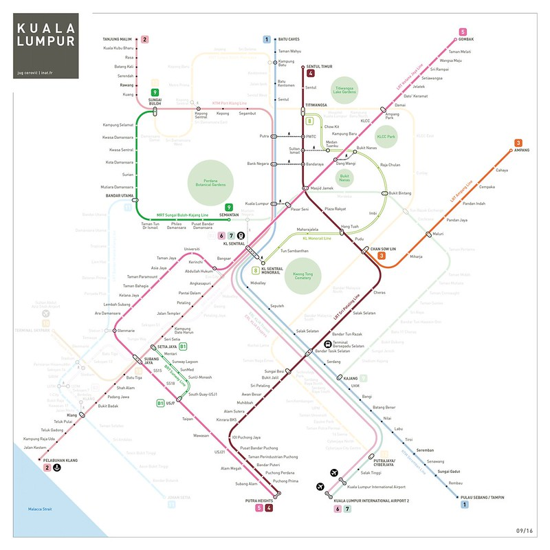 Kuala Lumpur Train Mrt Lrt Monorail Map