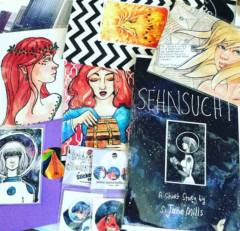 Awsome art by @ivory_ocean in the mail today :) Love it all and Thanks for the surprise ACEO too Jane! #artistsofinstagram #supportindieartist #art #illustration #zine #astrogirl #awesomeness #snailmaillove #snailmailrevolution #echtepostiszoveelleuker