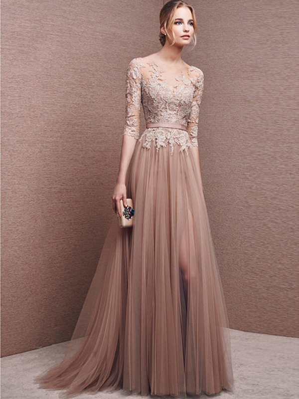 A-line Scoop Floor-length Tulle Prom Dresses/Evening Dresses #SP7336