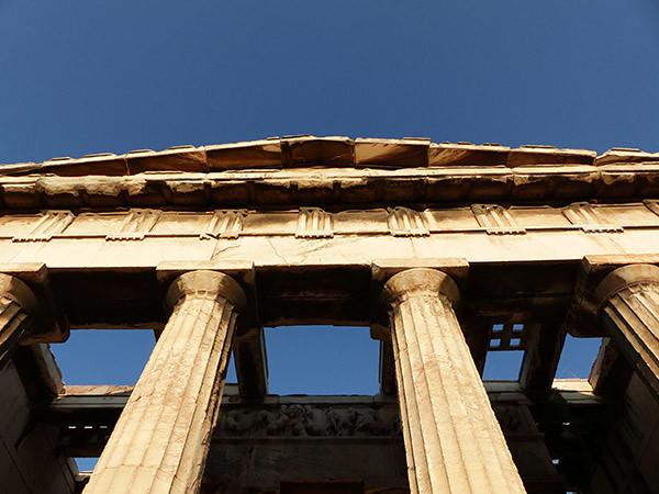 temple d'hephaistos au soleil couchant