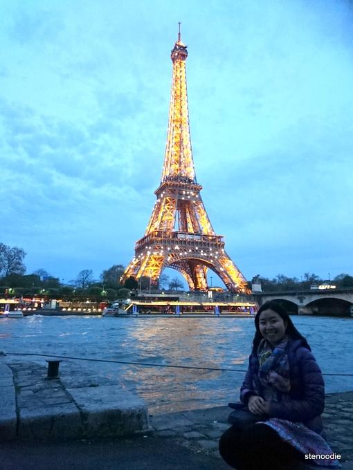 Glimmering Eiffel Tower at night