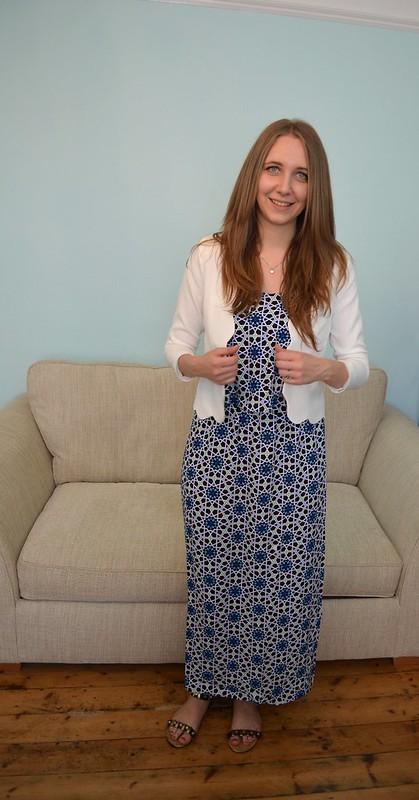 JD Williams Blue Tile Print Maxi Dress 4