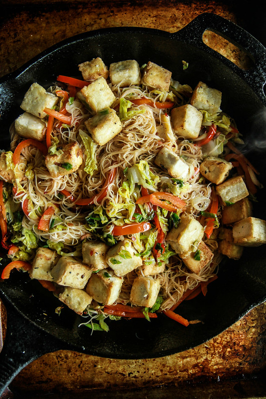 Stir Fried Veggie Noodles and Crispy Tofu (Vegan and Gluten Free) from HeatherChristo.com