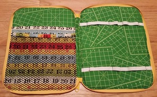 The inside of my #creativemakersupplycase to hold small rulers.