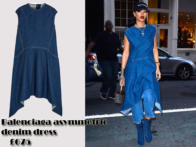 Balenciaga-asymmetric-denim-dress-in-triple-denim-trend, Dress over trousers, dresses over trousers trend, dress over trouser trend, Asymmetric denim dress, Balenciaga Asymmetric denim dress