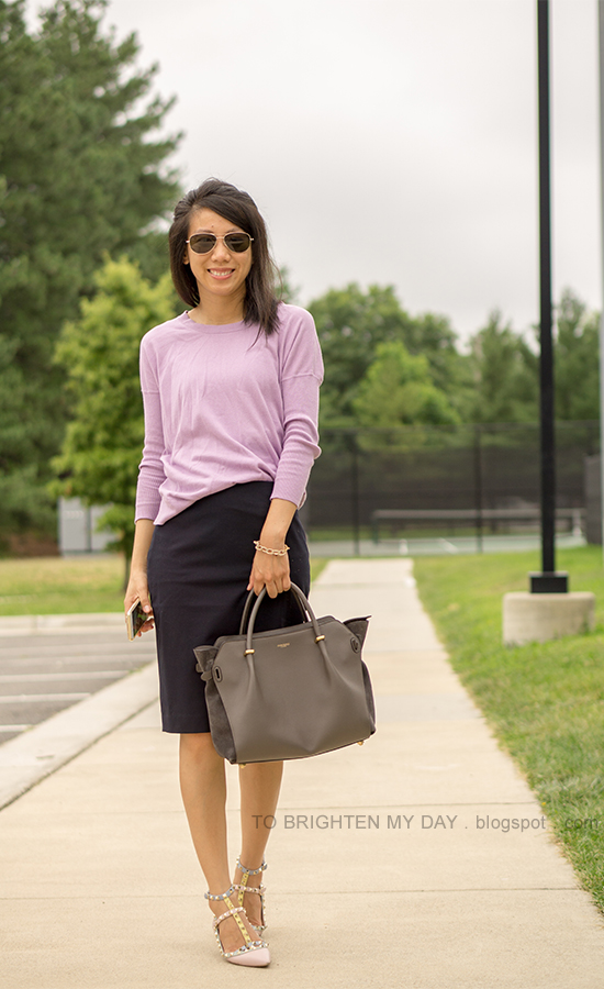 lilac sweater, navy pencil skirt, gold pave bracelet, watercolor studded flats