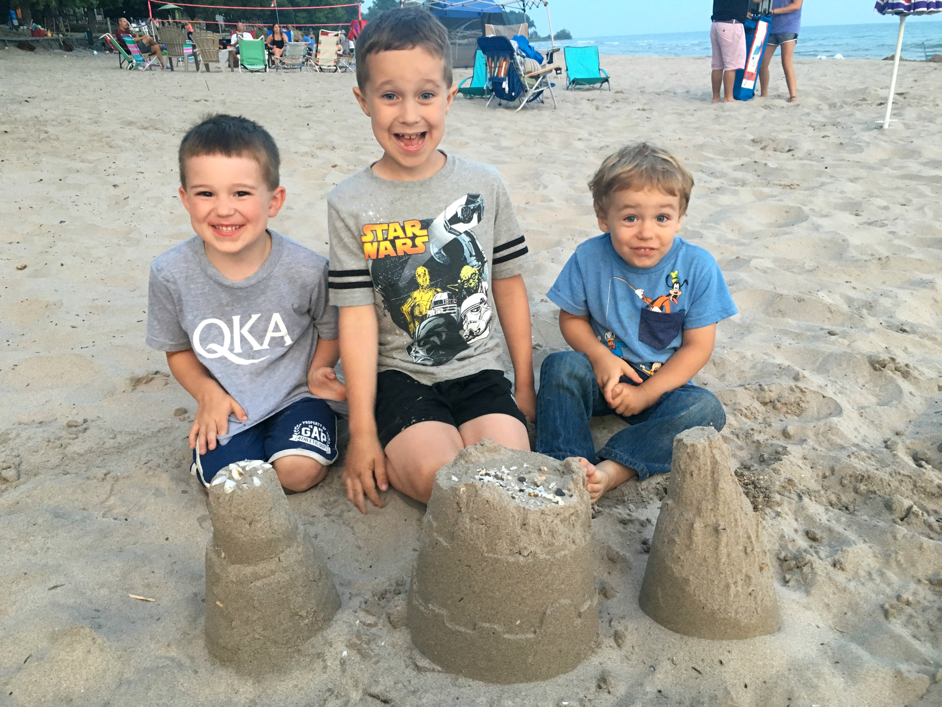 Boys and their sandcastle