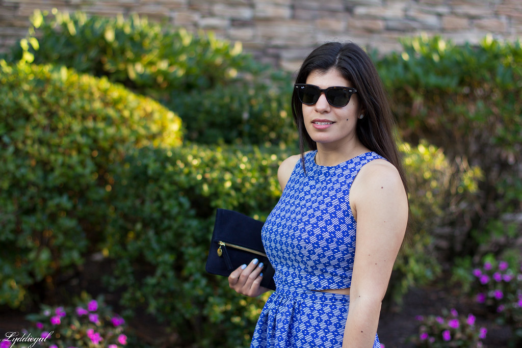 blue print cutout dress, fringe pumps, clare v clutch-4.jpg