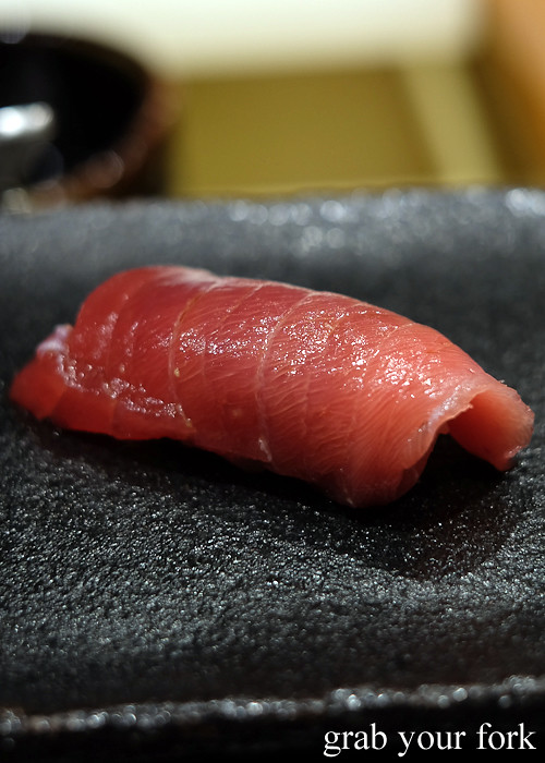 Chutoro medium fatty tuna nigiri sushi at Hana Ju-Rin in Crows Nest Sydney