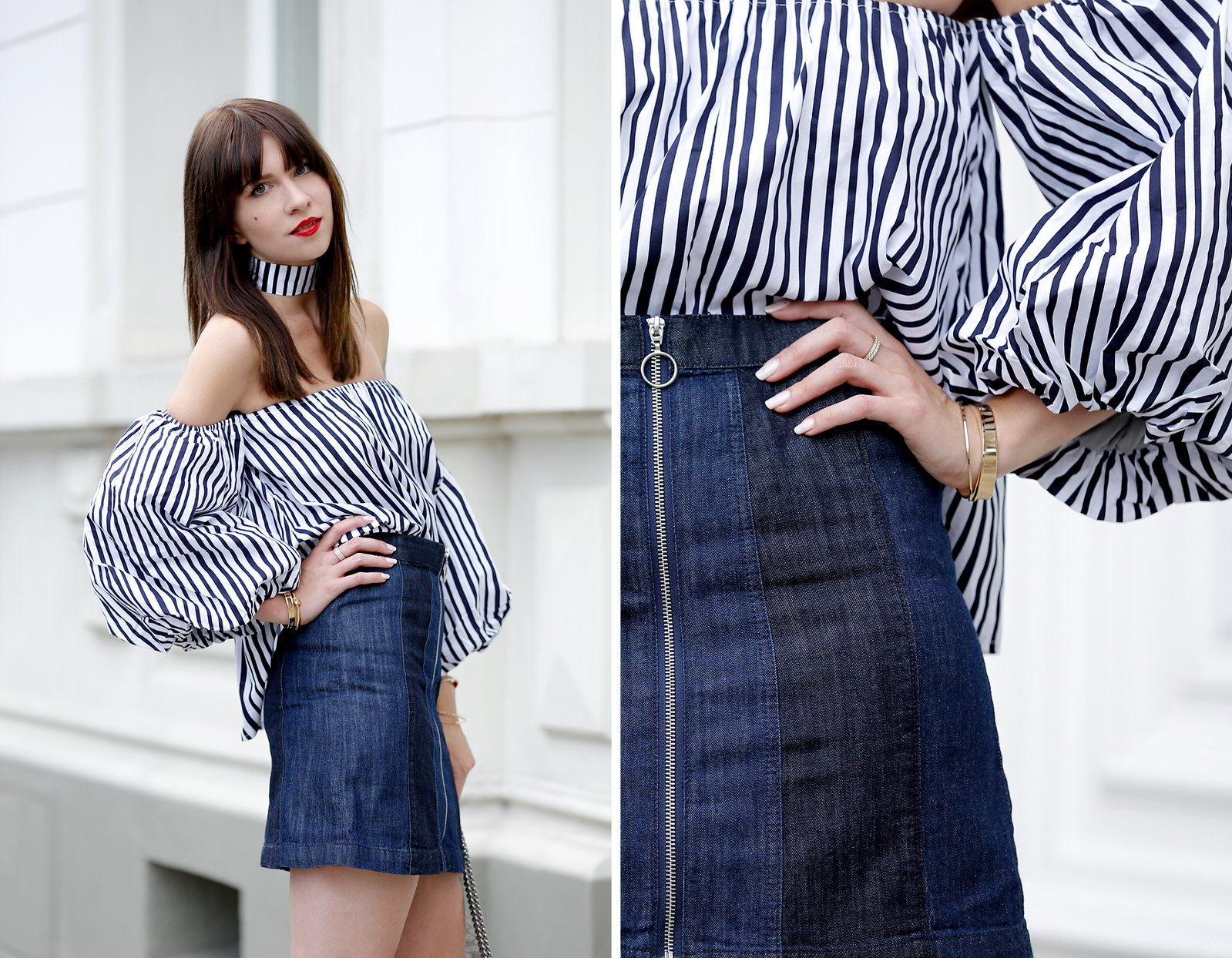 ootd outfit potd lookbook storets off shoulder stripe blouse chic mini denim skit seventies gucci dionysus bag luxury blogger fashionblog cats & dogs modeblogger berlin ricarda schernus dusseldorf fashionblog 5