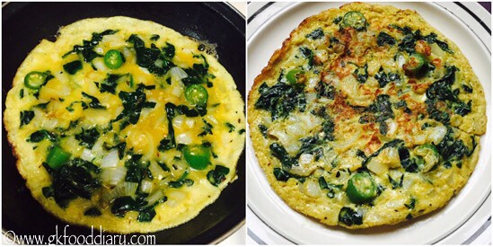 Spinach Omelette Recipe for Babies, Toddlers and Kids - step 5