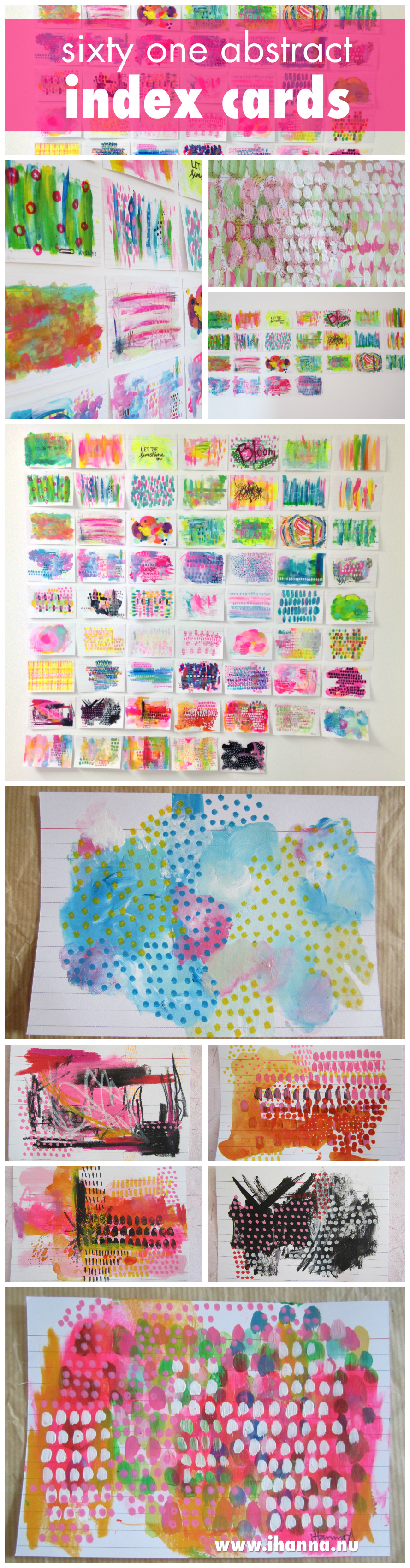 61 abstract painted index cards painted by iHanna #icad