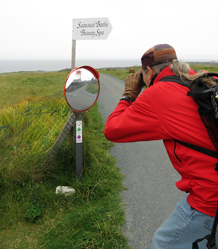 Road mirror advertising the Seaweed Spa on Inisheer, one of the Aran Islands in Ireland