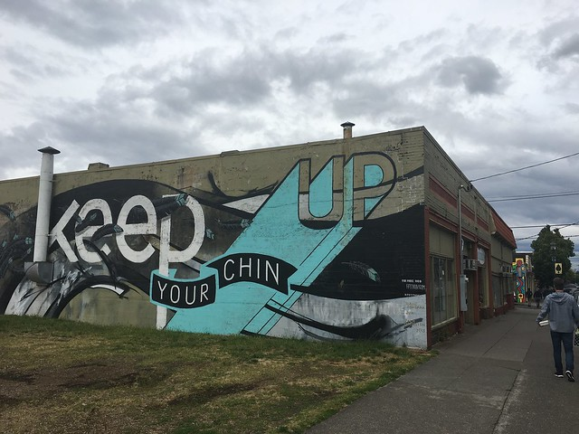 Keep Your Chin Up mural by Zach Yarrington and Jun Inoue Portland, Oregon