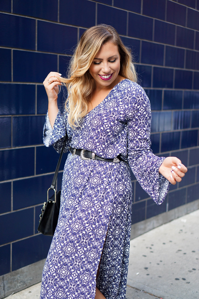 Printed Blue Bell Sleeve Maxi Dress NYFW Living After Midnite Jackie Giardina Outfit Fashion Blogger