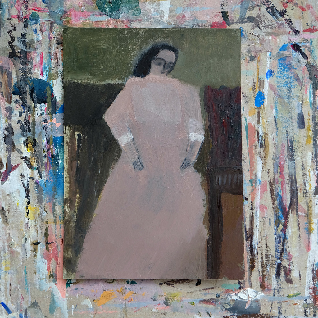 figure in interior (muted pink)