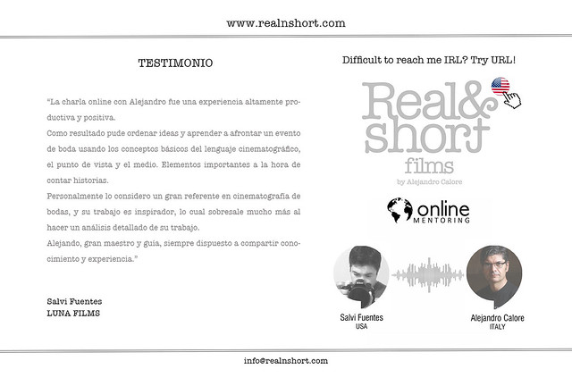 REAL&SHORT Online Mentoring with Salvi Fuentes (Washington DC, USA)