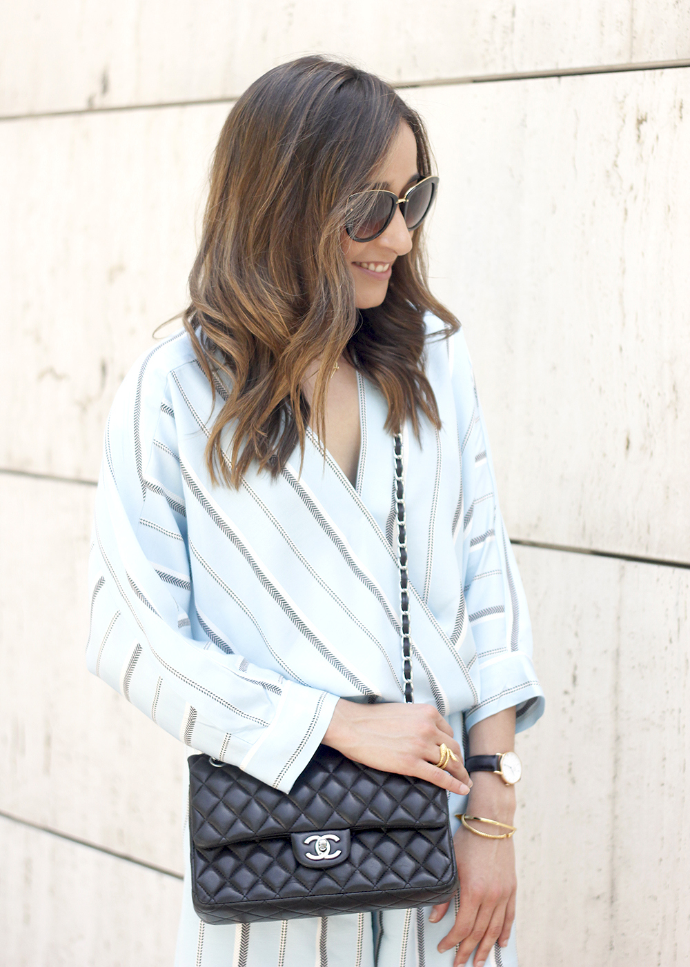 Maje Jumpsuit with stripes black heels chanel bag summer outfit street style fashion15
