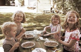 fudge family prospecting in the backyard