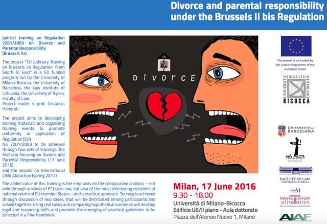 Judicial Training on divorce and parental responsibility (Milano, 17/06/2016)