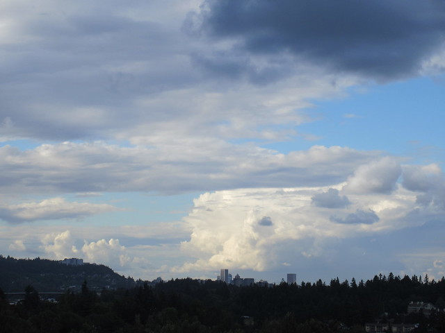 Iceberg cloud over Portland from a distance