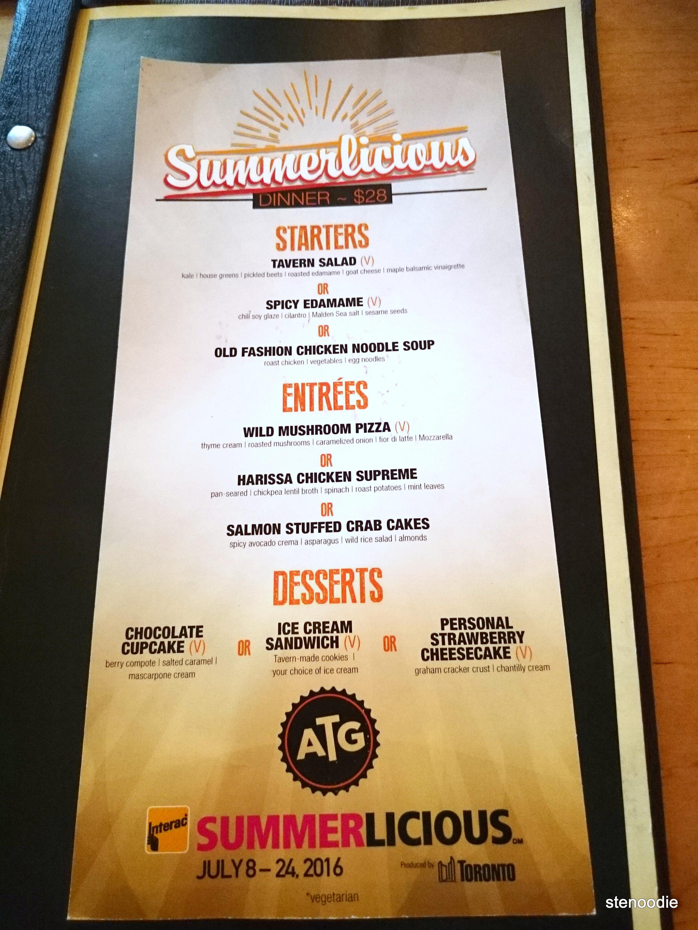 Against the Grain Urban Tavern Summerlicious 2016 menu