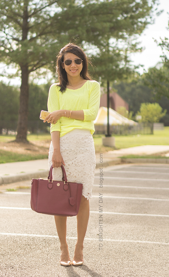 neon yellow top, off-white lace pencil skirt, burgundy purple tote, rose gold jewelry, rose gold metallic wedges